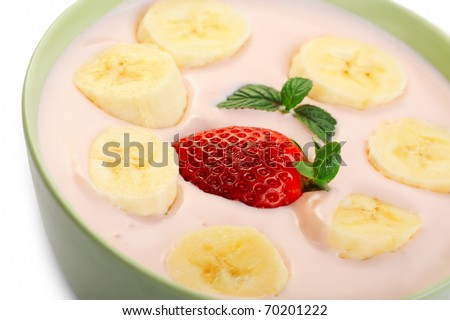 Fruit Salad - Banana, Strawberry And Yogurt In A Bowl Stock Photo ...