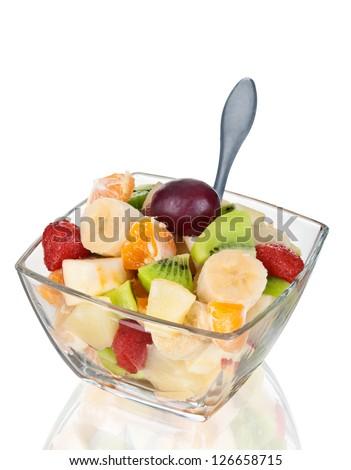 Fruit salad in glass boil