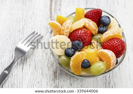 Shutterstock Fruit salad in glass bowl