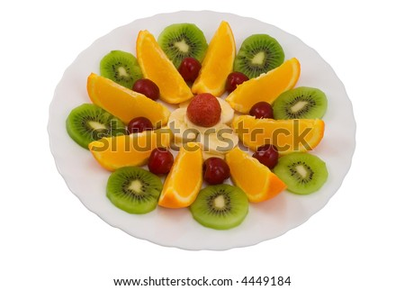 fruit salad in the plate isolated on the white