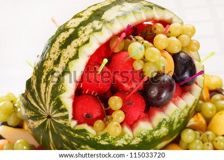 fruit salad in watermelon