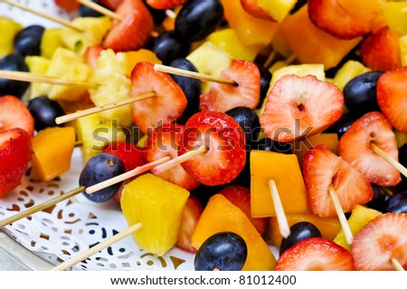 fruit salad on tray