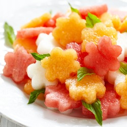 Fruit salad with melon and watermelon