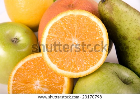 Fruit salad with orange on the top
