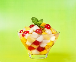 Fruit Salada / Fruit salad with pineapple, pear, cherry, peach,