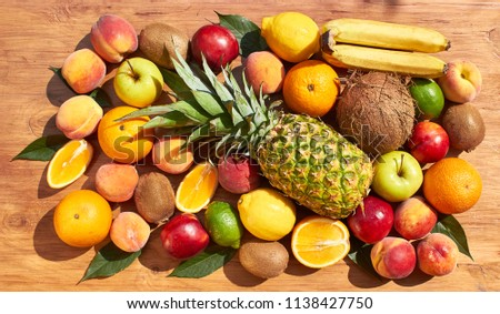 Fruit set from pineapple, oranges, lemons, peaches, nectarines, kiwi, bananas. Vitamins. #1138427750