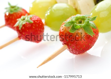 Fruit skewers, selective focus
