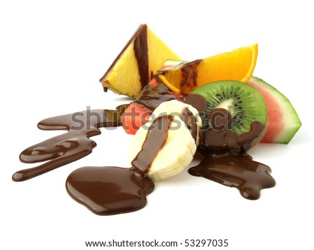 Fruit slices and chocolate - stock photo