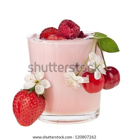 Fruit Smoothie - Fresh Berries with Yogurt isolated on white background