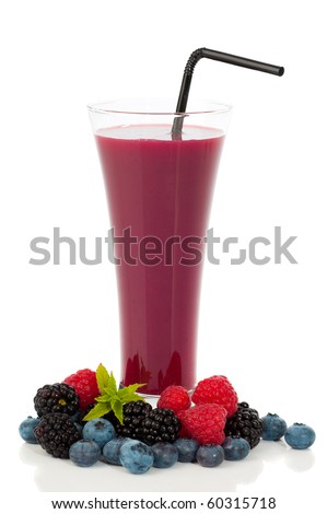 Fruit smoothie with straw surrounded by mixed summer fruits on white background