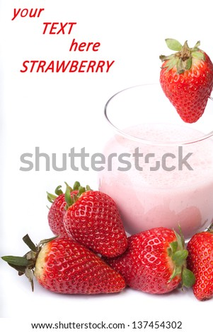 fruit smoothie yogurt with red ripe Strawberry on the white background