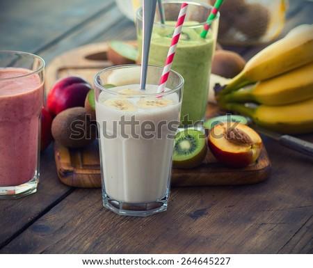 Fruit Smoothies. Selective focus, shallow DOF #264645227