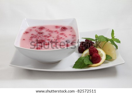 fruit soup on white plate isolated on white background