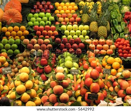 fruit stall in barcelona