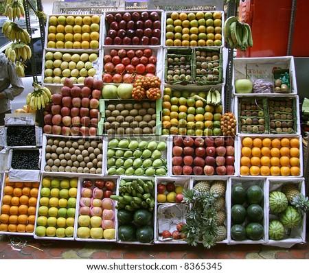 fruit stall on footpath, mumbai, india