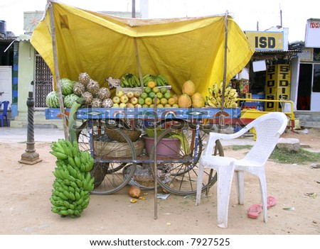 fruit stall on wheels at market