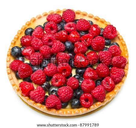 fruit tart with fresh raspberry and blueberry - stock photo