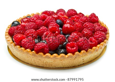 fruit tart with fresh raspberry and blueberry