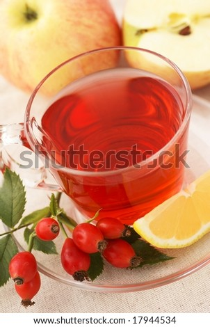 Fruit tea and fruits