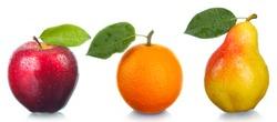Fruit the fresh tasty. An orange, an apple, a pear.