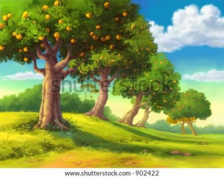Fruit Tree on Hill
