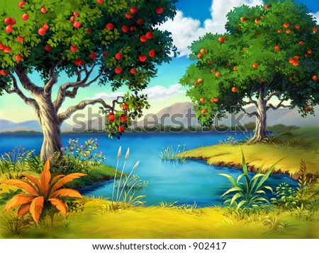 Fruit Tree with Lake