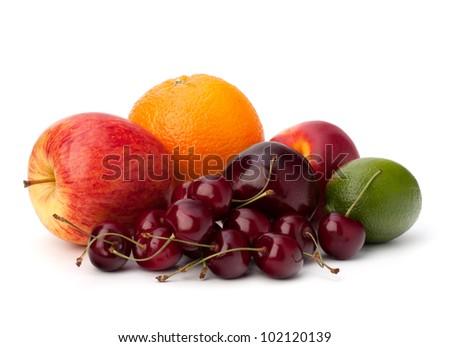 Fruit variety isolated on white background