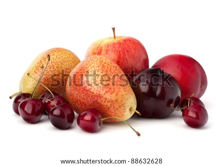 Fruit variety isolated on white background