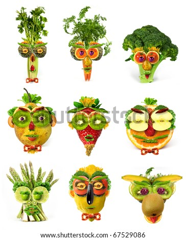 Fruit vegetable faces set