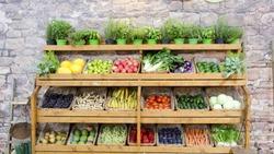 fruit vegetables shelves background