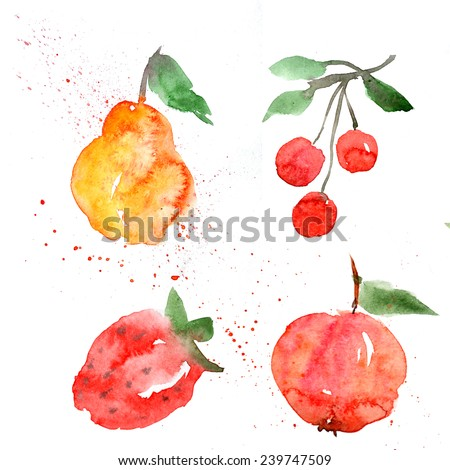 fruit, watercolor, set