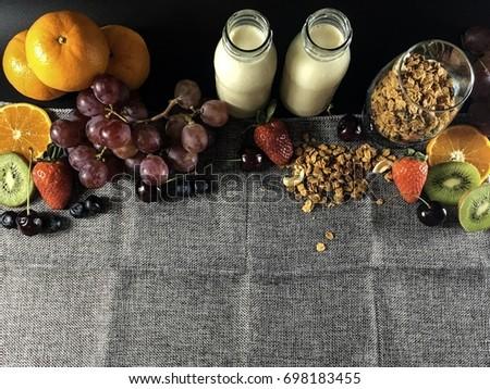 Fruit with fresh milk. #698183455