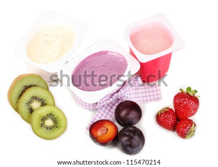 Fruit yogurts isolated on white