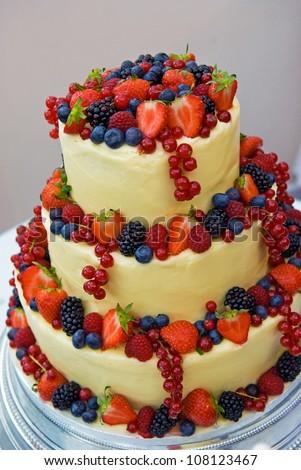 Fruitful wedding cake at reception