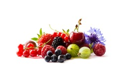 Fruits and berries isolated on white background. Ripe currants, raspberries, cherries, strawberries, gooseberries, mulberries and bilberries. Background of mix fruits with copy space for text.