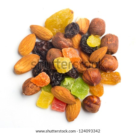 fruits and nuts on white top view