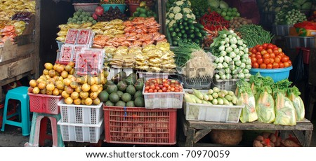 Fruits and vegetable at the asian market (Bali, Indonesia).