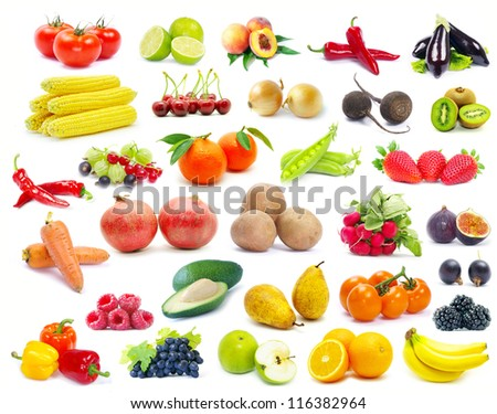fruits and vegetable isolated on white background