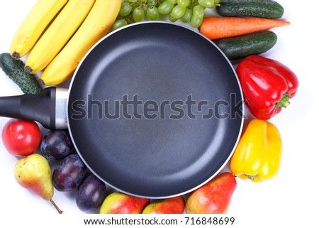 Fruits and vegetables around an empty frying pan with a place for an inscription for the designer #716848699