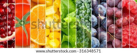 Fruits and vegetables background. Fresh food #316348571