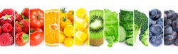 Fruits and vegetables. Collage of color  food. Fresh food
