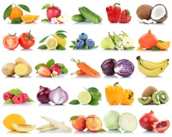 Fruits and vegetables collection isolated apple peach tomatoes berries fruit on a white background