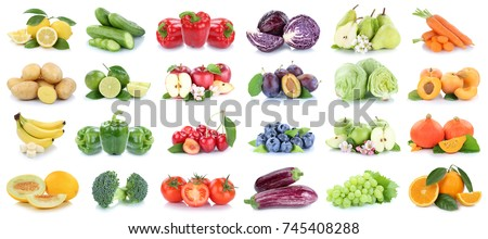 Fruits and vegetables collection isolated apples tomatoes oranges lemons colors fruit on a white background