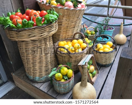 fruits and vegetables conceptual buying photo shoot at the grocery store contrasting fruit composition shooting different alternative compositions in wood and wicker.  #1571272564