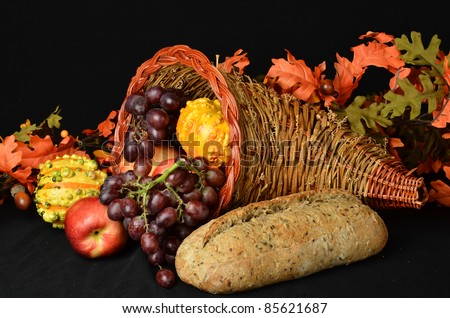 fruits and vegetables/Cornucopia for Thanksgiving/Collection of food in a wicker horn