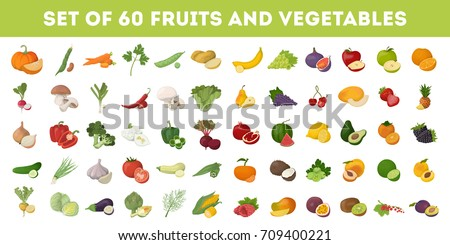 Fruits and vegetables icons set. Apples and bananas, tomatoes and cucumbers and more. #709400221