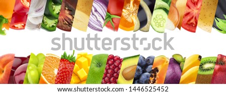 Fruits and vegetables in stripes closeups collage. Trendy organic farming produce background. Ripe juicy fruits, berries backdrop. Exotic, tropical summer salad ingredients. Eco agricultural products