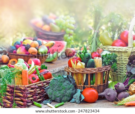 Fruits and vegetables in wicker baskets