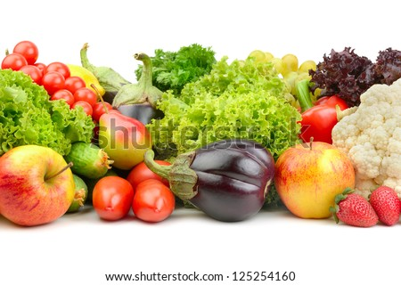 fruits and vegetables isolated on a white background #125254160