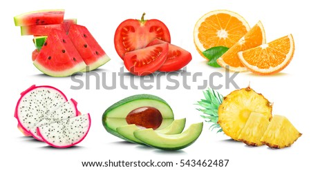 fruits and vegetables isolated on a white background #543462487